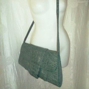 CHRISTIANSEN Green Crocodile Convertible Purse $1K